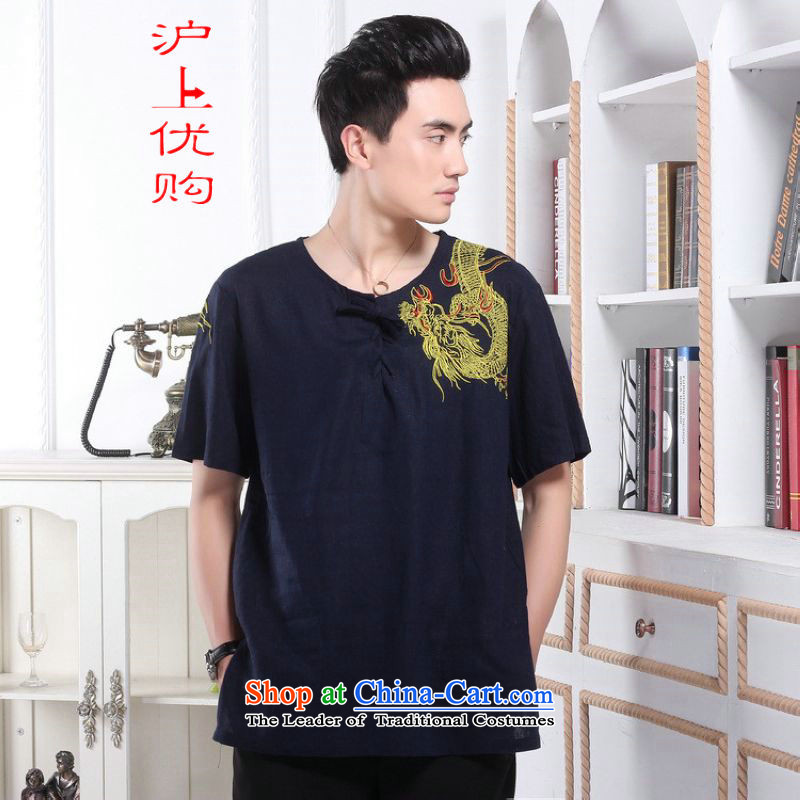 Shanghai, optimization options in Tang Dynasty older men and summer embroidered dragon Chinese improved Tang dynasty men's large short-sleeved men 239.7 - 1 color navy聽M recommendations 100-120 catty