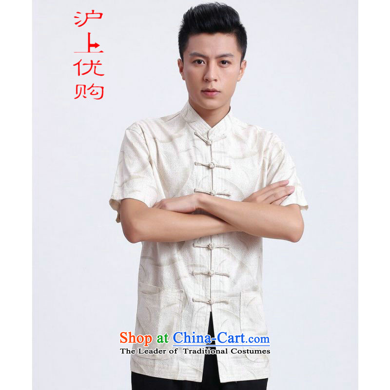 Shanghai, optimization options in Tang Dynasty older men and summer Chinese improvement to the water absorbency of breathable collar Tang dynasty men's large short-sleeved men 2372 - 1 white燲XXL recommendations 180-195 catty