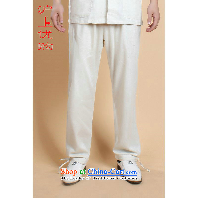Shanghai, optimization options for older men Tang pants summer elastic waist improved Chinese cotton linen solid color wild father Ronald pants replacing 0820-820-001 - 3 white聽L recommendations 125-135 catty