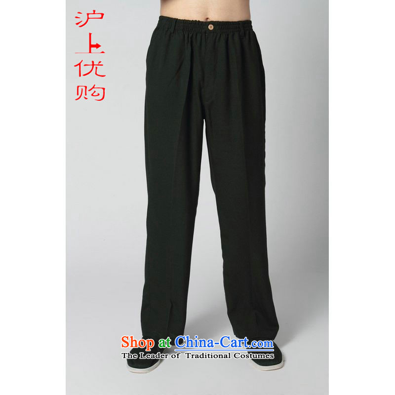 Shanghai, optimization options for older men summer pants elastic waist cotton linen ethnic father Ronald pants replacing Tang pants 235 -15 black trousers?M recommendations 100-120 catty
