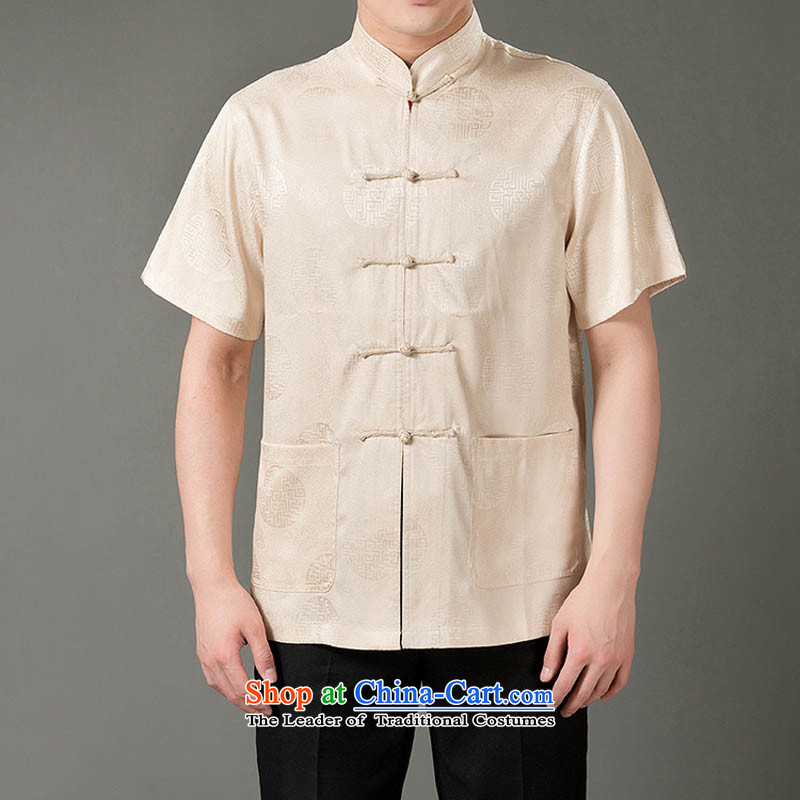 Thre line for summer and men Tang dynasty short-sleeved T-shirt, Tang Dynasty Chinese men older casual male beige燲L_180 national costumes