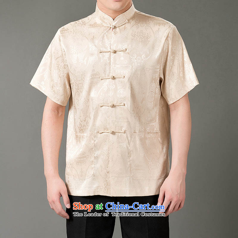 Bosnia and the short-thre fish short-sleeved T-shirt, coming summer collar men emulation silk Tang dynasty short-sleeved T-shirt ethnic men emulation silk short-sleeved T-shirt, beige燲XXL_190