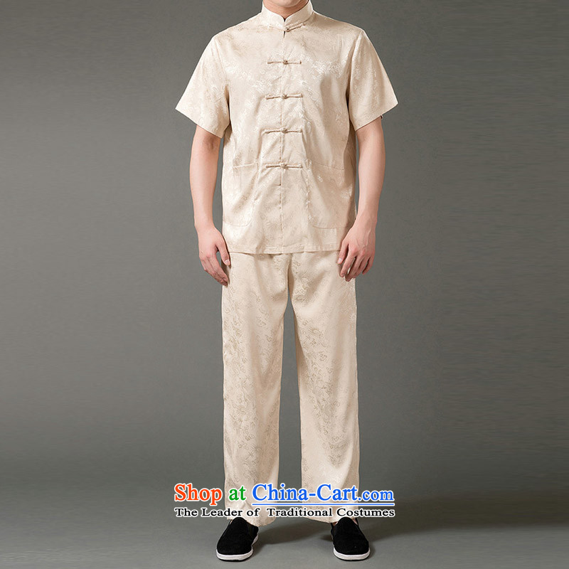 The new products and thre summer Tang Dynasty Package embroidery Bruce Lee's Mock-neck short-sleeved package for older men Tang dynasty ethnic embroidery emulation silk Tang Dynasty Package XXXL_190 Beige