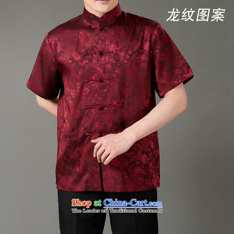 Thre line for summer and new clothes classical national costume cool emulation in the population of older men short-sleeved Tang dynasty M/170 wine red