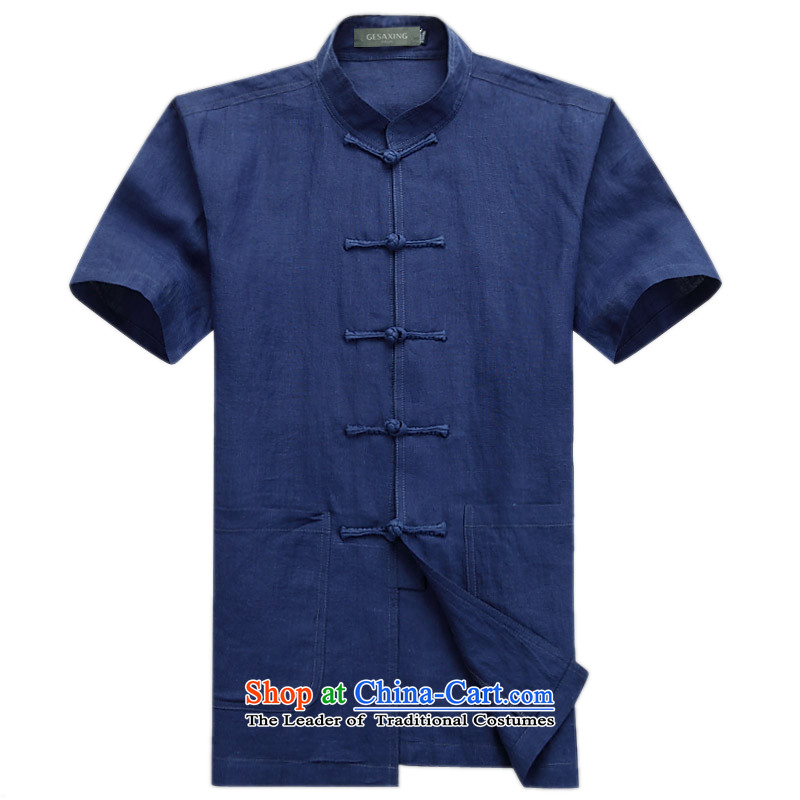 Thre line of men and Chinese ethnic linen collar short-sleeved shirt upscale fine ramie Tang blouses燲XL_185 Dark Blue