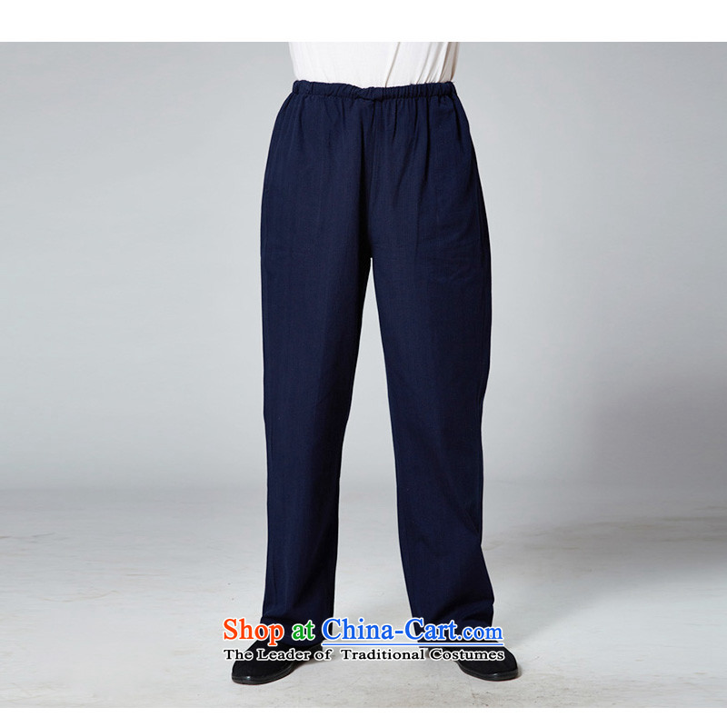 Ho Chi new summer 2014 in older men Tang pants plain manual old father long pants blacklead Blue?170