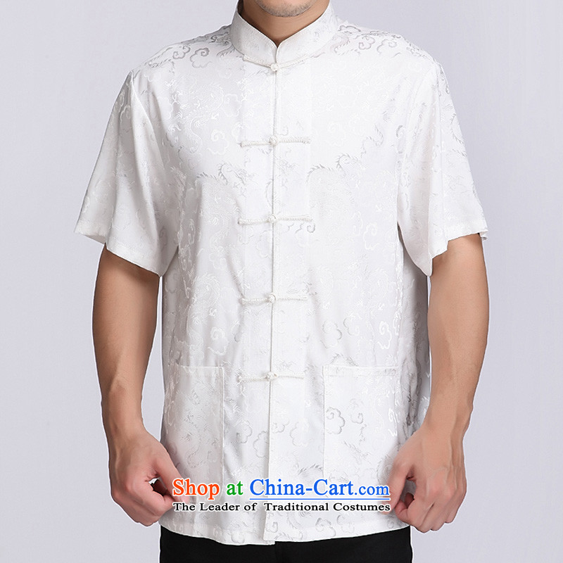 Bosnia and genuine line thre summer auspicious cloud men short-sleeved T-shirt China wind Men's Mock-Neck short-sleeved T-shirt exclusive and comfortable auspicious cloud short-sleeved white燲XXL_190 Tang Dynasty