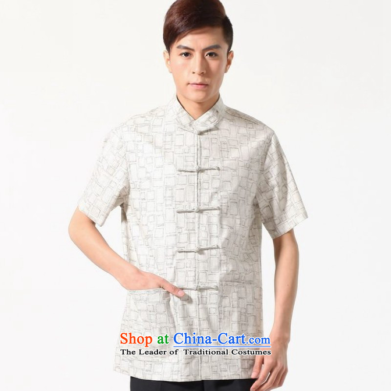 Floor is middle-aged men building new summer new short-sleeved Tang Dynasty Chinese improved Chinese tunic Men's Mock-Neck cotton linen short-sleeved shirt M0054燲XXL White