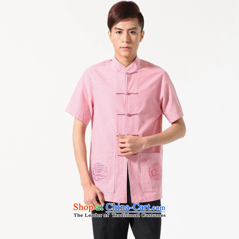 Yet Floor Floor men new summer short-sleeved T-shirt solid color collar Chinese middle-aged men large improved code Embroidered pink shirt Tang dynasty�XL