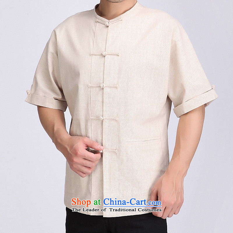 Bosnia and Tang dynasty line thre new products Chinese Han-Tang dynasty men short-sleeved national costumes linen stylish improved m White XXL_185 Tang