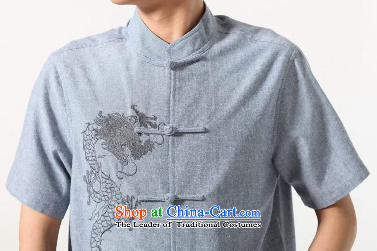 Yet Floor Floor men new summer Short-Sleeve Mock-Neck embroidery tray clip Chinese Tang dynasty large improved shirt Chinese tunic male -A dark gray L picture, prices, brand platters! The elections are supplied in the national character of distribution, so action, buy now enjoy more preferential! As soon as possible.