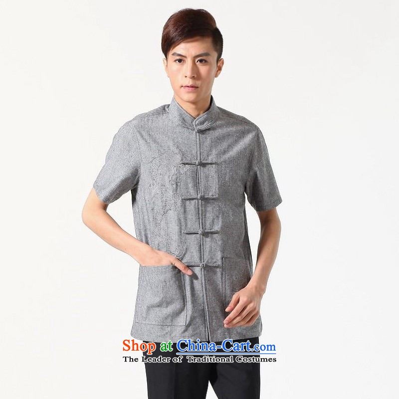 Yet Floor Floor men new summer Short-Sleeve Mock-Neck embroidery tray clip Chinese Tang dynasty large improved shirt Chinese tunic male -A dark gray L
