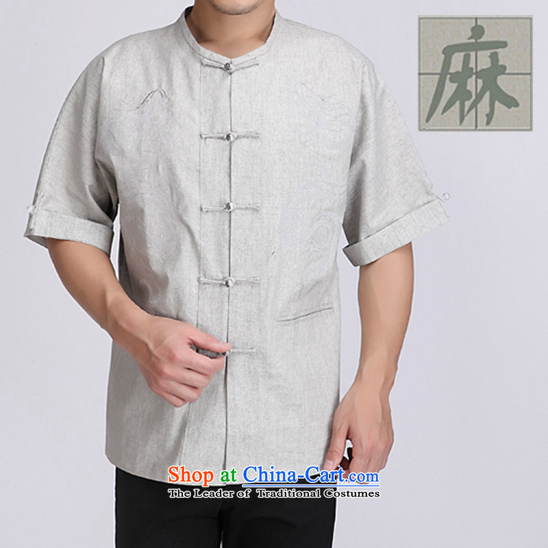 New line thre Bosnia and Men's Mock-Neck short-sleeved summer national China wind embroidery dragon breathable linen Tang blouses M_170 Gray