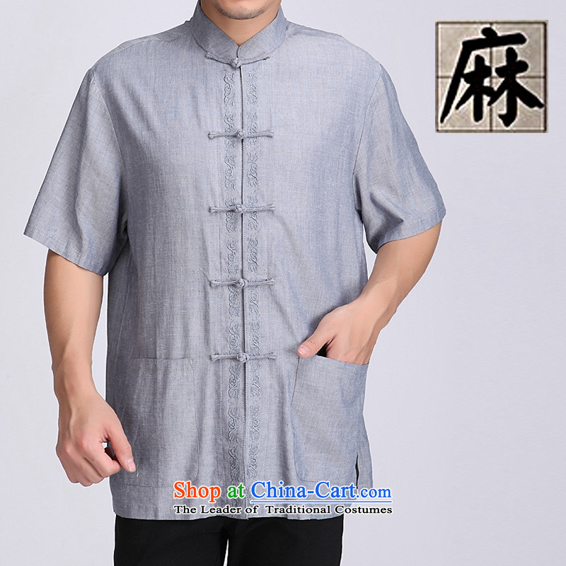 Summer genuine men short-sleeved T-shirt cotton linen tunic of ethnic Chinese Men's Mock-Neck tray clip cotton linen short-sleeved older cotton linen short-sleeved T-shirt is informal and comfortable with a blue and gray?XL_180 Dad