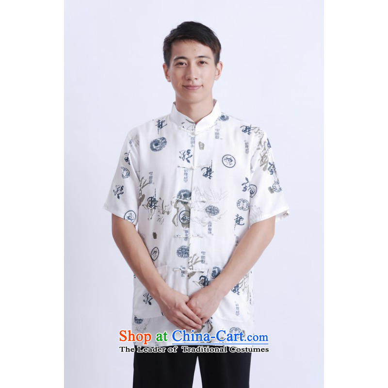 Yet Floor Floor men summer New Men Tang dynasty short-sleeved Chinese improved Chinese tunic ma short-sleeved T-shirt larger picture shirt color XXXL
