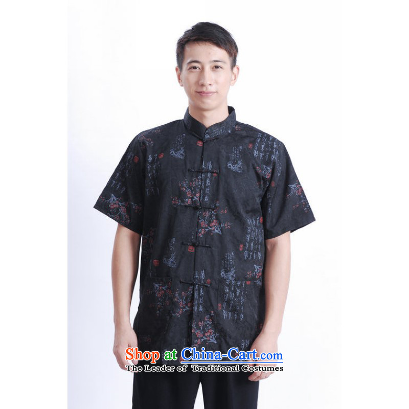 Floor load floor is father new summer Short-Sleeve Mock-Neck tray clip large stamp men Chinese Tang dynasty shirts and improved black?M