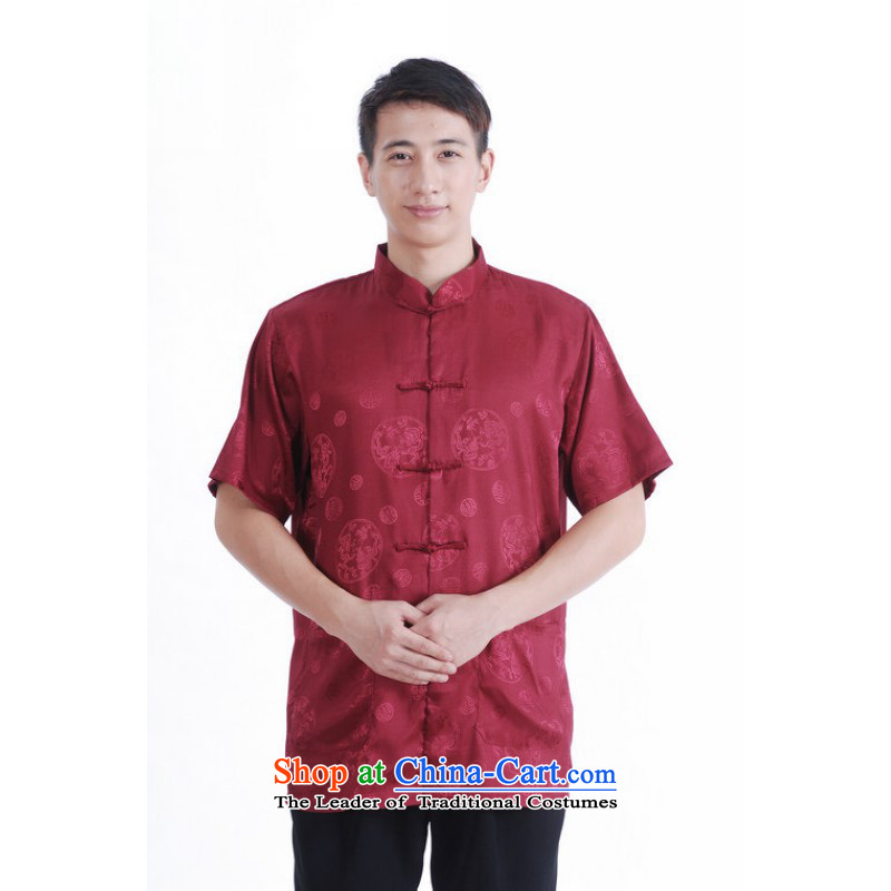 Floor load floor is the father of the middle-aged men new summer collar disc detained short-sleeved Chinese Improved Large Tang dynasty shirts and mauve XL