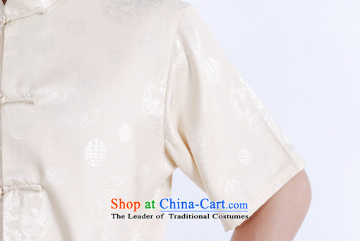Floor load floor is father new summer collar up short-sleeved T-shirt detained men Chinese improved Tang dynasty China wind shirt, beige聽XXL picture, prices, brand platters! The elections are supplied in the national character of distribution, so action, buy now enjoy more preferential! As soon as possible.