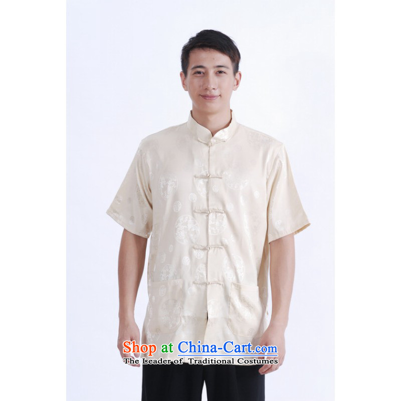 Floor load floor is father new summer collar up short-sleeved T-shirt detained men Chinese improved Tang dynasty China wind shirt, beige燲XL