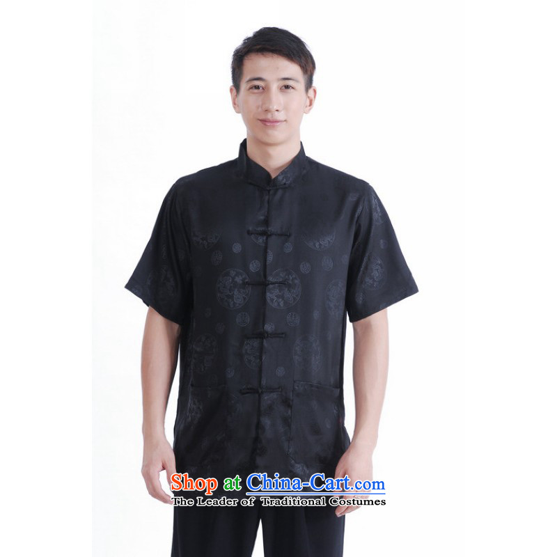 Floor load floor is father new summer Men's Mock-Neck tray clip Chinese large improved damask Tang dynasty shirt male black�L
