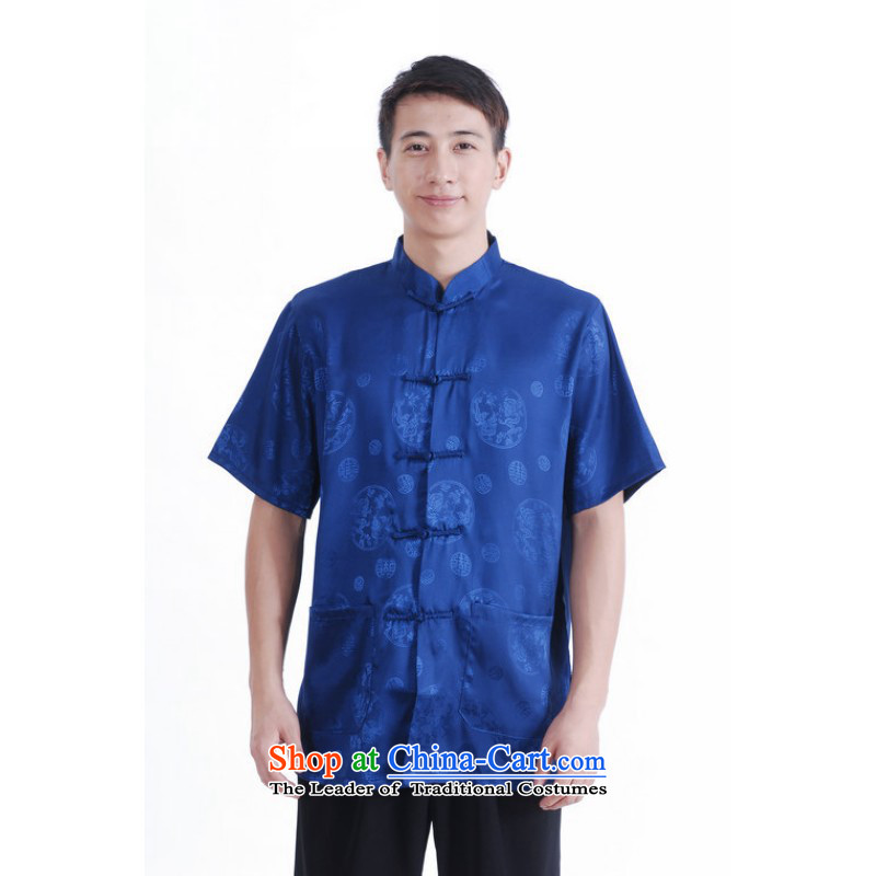 Floor is building new summer dad middle-aged men's Mock-neck short-sleeved tray clip Chinese large improved damask on the Tang dynasty shirts and Cyan燲L