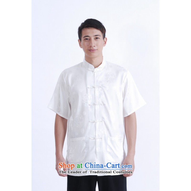 Floor load floor is a new summer, Father Men's Mock-Neck short-sleeved tray clip embroidery Chinese Improved large damask Tang dynasty white male聽XXXL Shirt