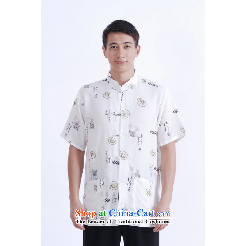 Floor load floor is father new summer Men's Mock-Neck short-sleeved stamp cotton linen Chinese Improved Large Tang dynasty shirts and white�M