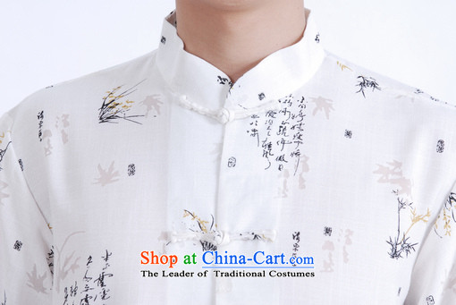 Floor is middle-aged men building new summer men Short-Sleeve Mock-Neck tray clip embroidered cotton linen Chinese Improved Large Tang dynasty shirt father White XL pictures, price quoted couplet, brand platters! The elections are supplied in the national character of distribution, so action, buy now enjoy more preferential! As soon as possible.
