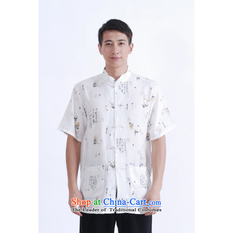 Floor is middle-aged men building new summer men Short-Sleeve Mock-Neck tray clip embroidered cotton linen Chinese Improved Large Tang dynasty shirt father white ZHUYESHAN XL