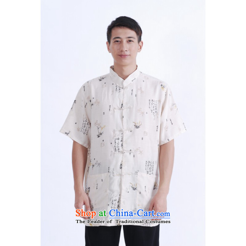Floor load floor is father new summer men short-sleeved cotton linen collar Chinese Improved large middle-aged men's shirts in Tang Dynasty beige ZHUYESHAN L