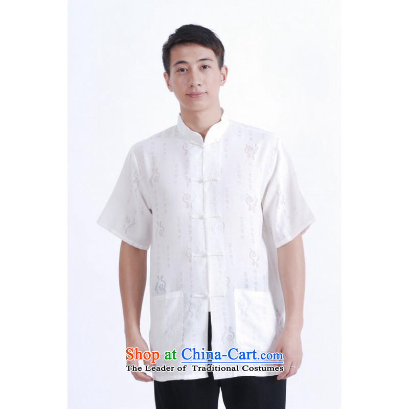 Floor load floor is father new summer men Short-Sleeve Mock-Neck cotton linen Chinese Improved Large Tang dynasty shirt female-female white?L