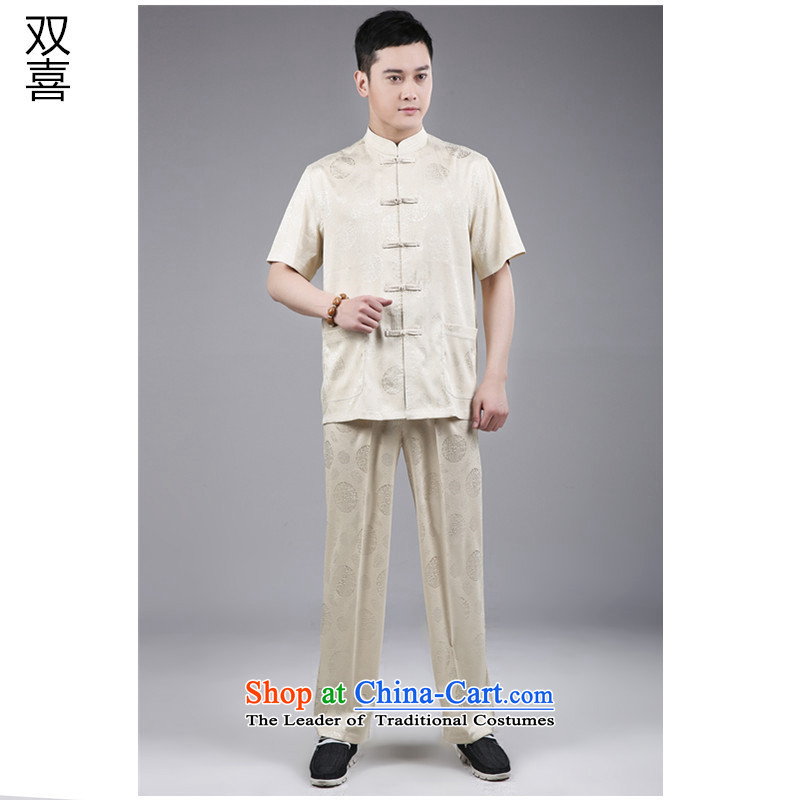 2015 Short-sleeve men serving in China wind National Older Tang Dynasty Package in Tang Dynasty elderly men short-sleeve kit聽185 m Yellow