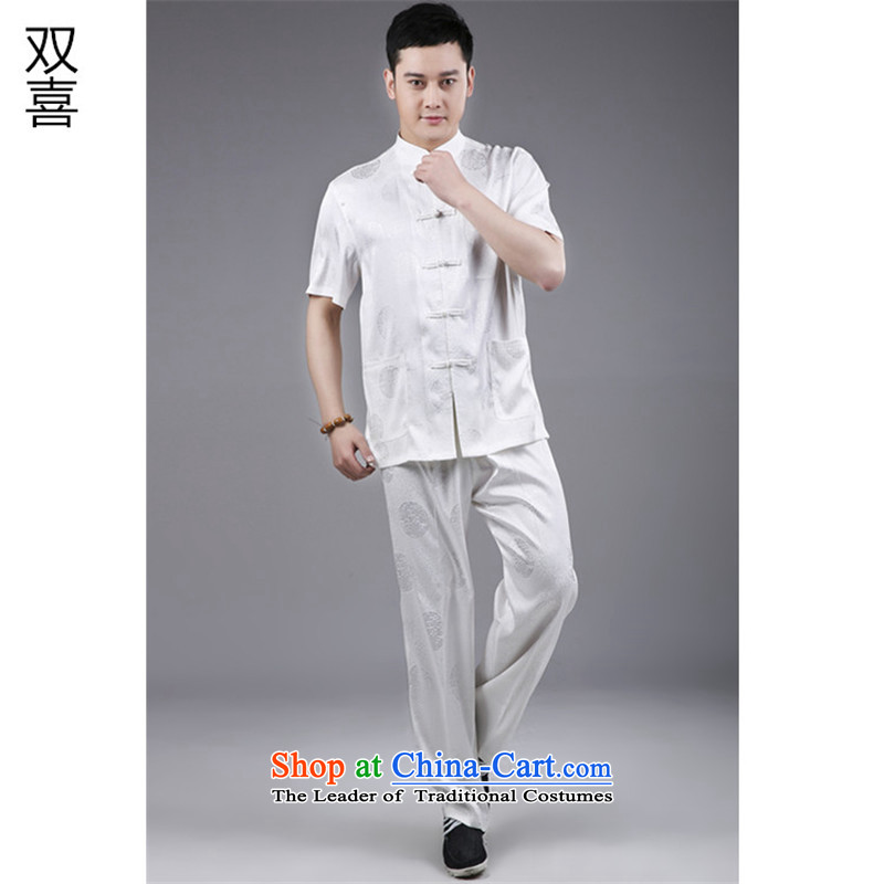 2015 Men Kit national dress in Tang Dynasty Package white men older Tang dynasty summer short-sleeve kit White聽185