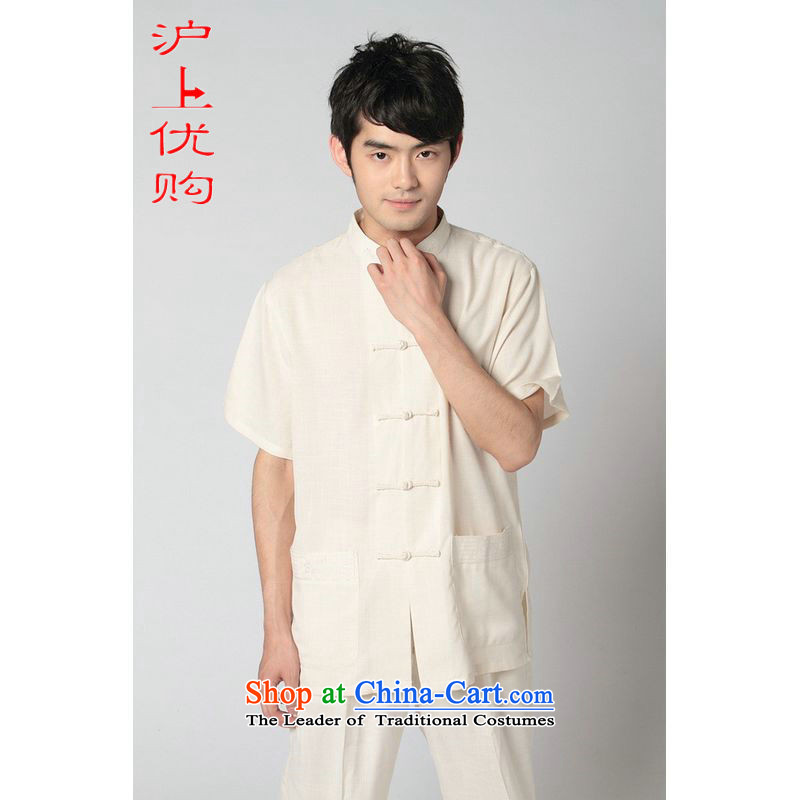 Shanghai, optimization options in Tang Dynasty older men and summer cotton linen collar Tang dynasty men's large short-sleeved men 2350 - 3 beige jacket聽M recommendations 100-120 catty