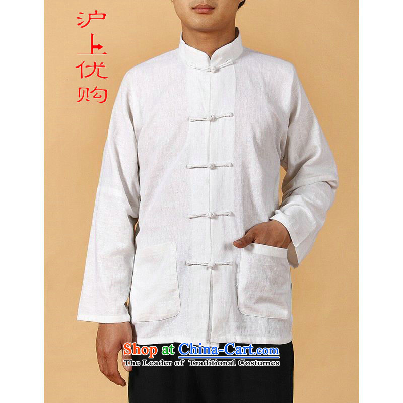 Shanghai, optimization options in Tang Dynasty older men and summer cotton linen collar Tang dynasty Long-sleeve larger men 2341 - 1 White�XL recommendations appears at paragraphs 145-155 catty