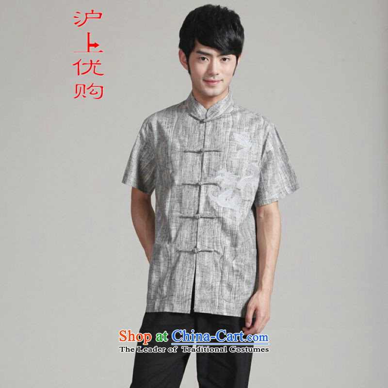 Shanghai, optimization options in Tang Dynasty older men and summer collar short-sleeved Tang dynasty men short-sleeved larger men 2340 - 2 gray XXXL recommendations 180-195 catty