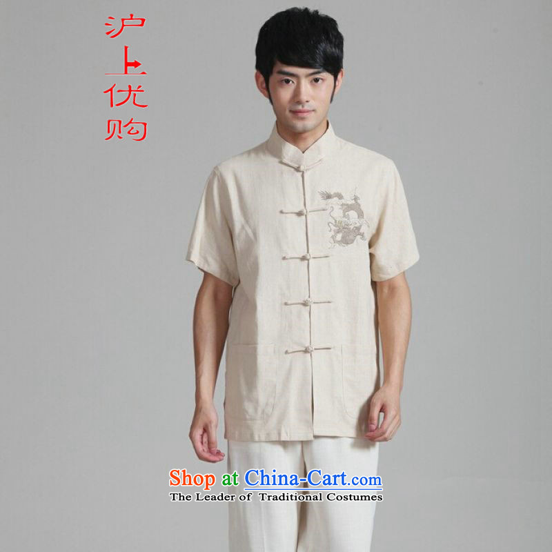 Shanghai, optimization options in Tang Dynasty older men and summer cotton linen collar embroidered Tang Dynasty Chinese dragon men short-sleeved larger men 2999 - 2 beige?XL recommendations appears at paragraphs 145-155 catty