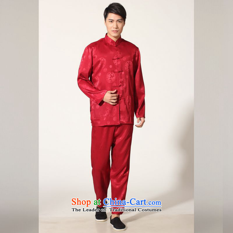 158 Jing in Tang Dynasty older men and the spring and summer load collar silk long-sleeved Tang Dynasty Package men kung fu tai chi M0050 service kit -C, wine red XL( recommendations appears at paragraphs 145-155 catties)