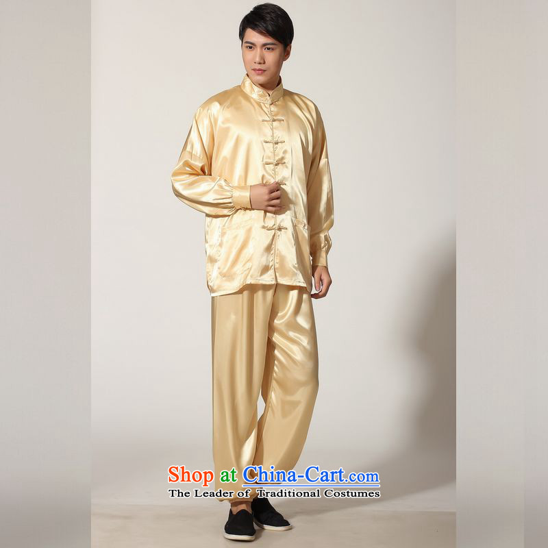 158 Jing in Tang Dynasty older men and the spring and summer load collar silk long-sleeved Tang Dynasty Package men kung fu tai chi燤0048 service kit -D燣 _paras. 125-140 recommended the burden of gold_