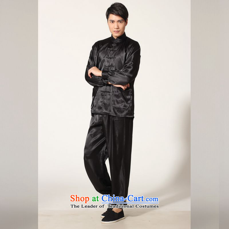 158 Jing in Tang Dynasty older men and the spring and summer load collar silk long-sleeved Tang Dynasty Package men kung fu tai chi M0048 service kit -A black XL( recommendations appears at paragraphs 145-155 catties)
