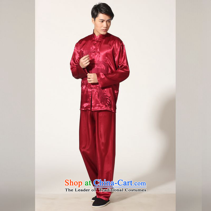 158 Jing in Tang Dynasty older Men's Mock-Neck summer silk embroidery Tang Dynasty Chinese Dragon Men long-sleeved kit for larger men's kung fu kit?XL146 M0013 wine red?L _paras. 125-140_, the burden of recommendations