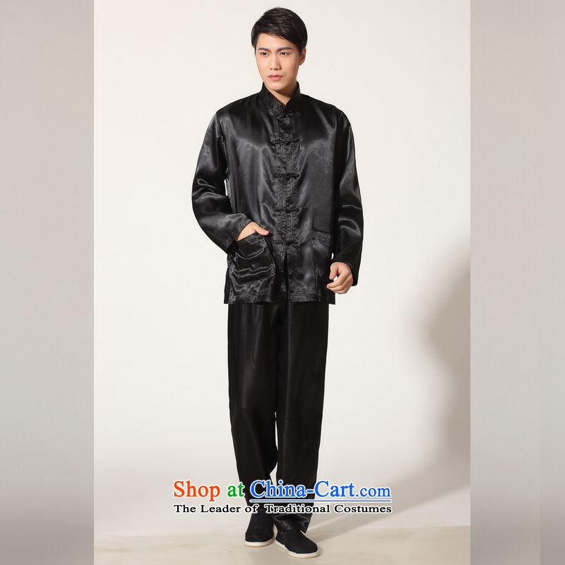 158 Jing in Tang Dynasty older men and the spring and summer load collar silk long-sleeved Tang Dynasty Package men kung fu tai chi QB146 service kit M3010 black M recommendations seriously) paras. 125-140