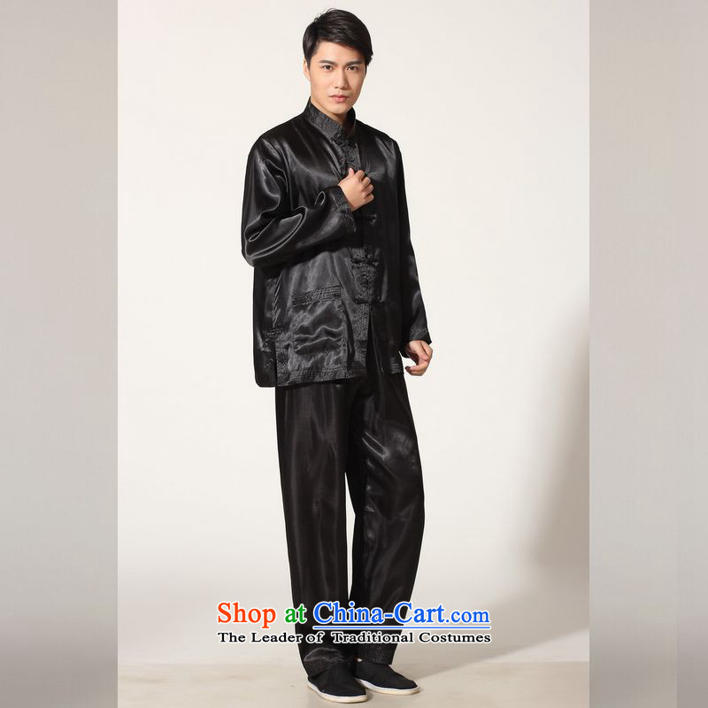 158 Jing in Tang Dynasty older men and the spring and summer load collar silk long-sleeved Tang Dynasty Package men kung fu tai chi QB146 service kit M3010 black M), to the burden of the proposed paras. 125-140 jing shopping on the Internet has been press