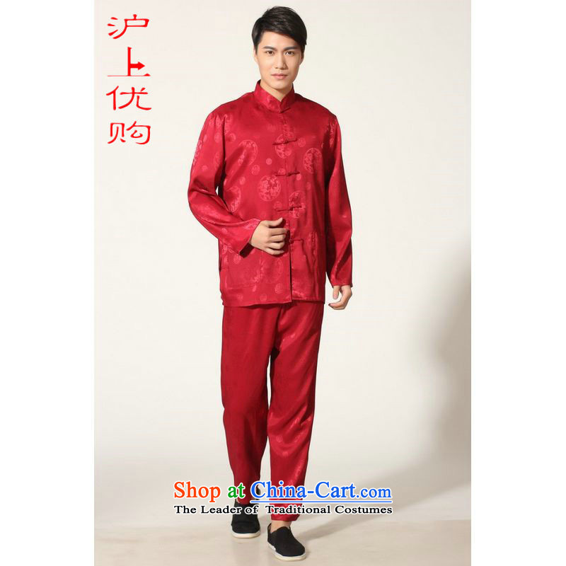 Shanghai, optimization options in Tang Dynasty older men and summer collar silk men long-sleeved kit for larger men's kung fu kit�-C, wine red�0-155 L recommendations catty