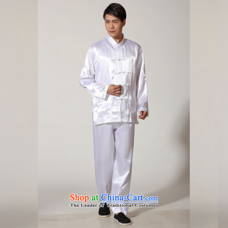 158 Jing in Tang Dynasty older men and the spring and summer load collar silk long-sleeved Tang Dynasty Package men kung fu tai chi?QB146 service kit M3013?XXL( recommendations 180-210 white coal)