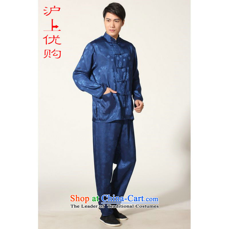 Shanghai, optimization options in Tang Dynasty older men and summer collar silk men long-sleeved kit for larger men's kung fu kit聽-B on cyan聽XXL recommendations 180-210 catty
