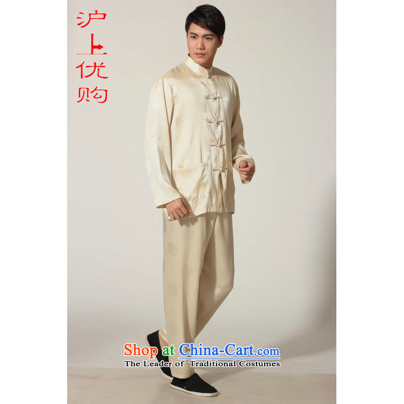 Shanghai, optimization options in Tang Dynasty older men and the spring and summer load collar silk long-sleeved Tang Dynasty Package men kung fu tai chi?M0049 service kit -D?L recommendations 140-155 Golden catties