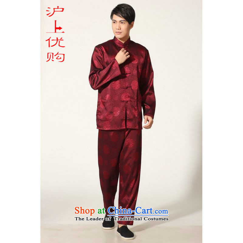Shanghai, optimization options in Tang Dynasty older men and summer collar silk men long-sleeved kit for larger men's kung fu kit�-C, wine red燲L