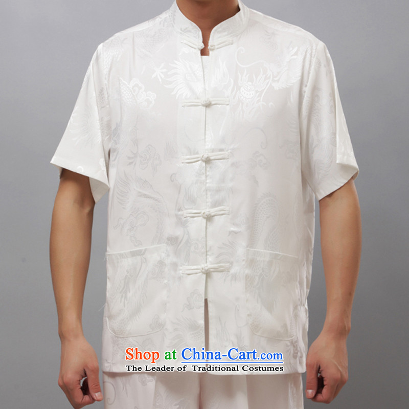 Bosnia and thre line summer men in Tang Dynasty elderly men short-sleeve kit for larger older men Large Dragon Chinese summer XXXL_190 White