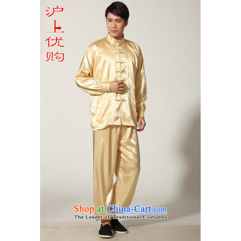 Shanghai, optimization options in Tang Dynasty older men and summer collar silk men long-sleeved kit for larger men's kung fu kit聽-D GOLD聽XL recommendations weighs 160-170 catty